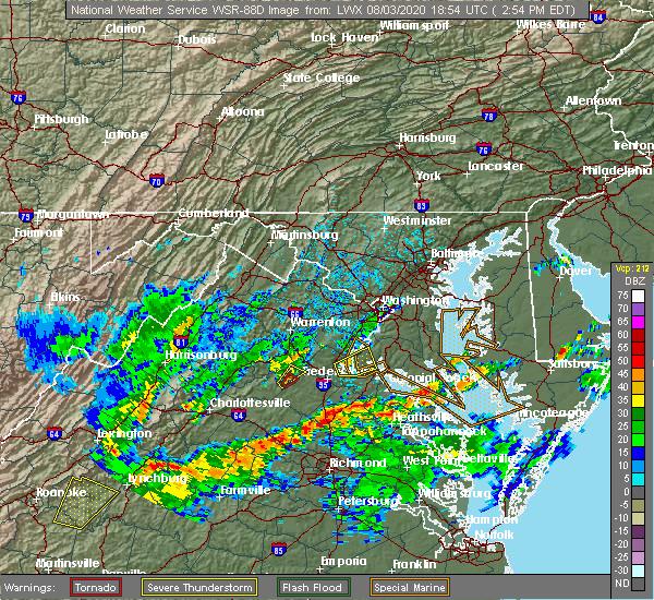 Radar Image for Severe Thunderstorms near Fredericksburg, VA at 8/3/2020 2:58 PM EDT