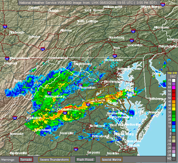 Radar Image for Severe Thunderstorms near Orange, VA at 8/3/2020 3:58 PM EDT