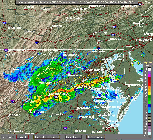 Radar Image for Severe Thunderstorms near Orange, VA at 8/3/2020 4:07 PM EDT