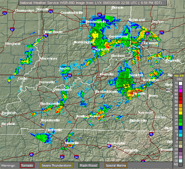 Radar Image for Severe Thunderstorms near Burgin, KY at 8/3/2020 7:01 PM EDT