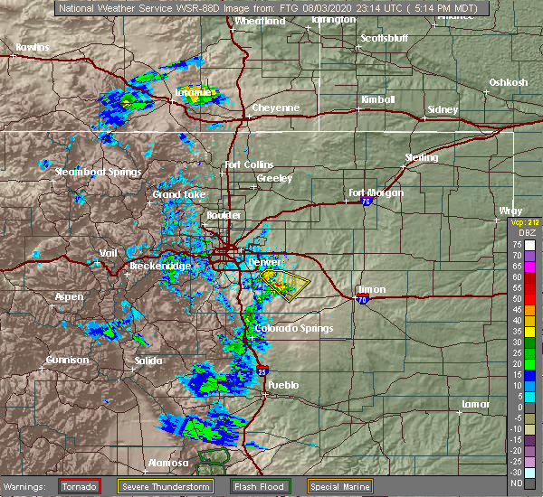 Radar Image for Severe Thunderstorms near Kiowa, CO at 8/3/2020 5:18 PM MDT