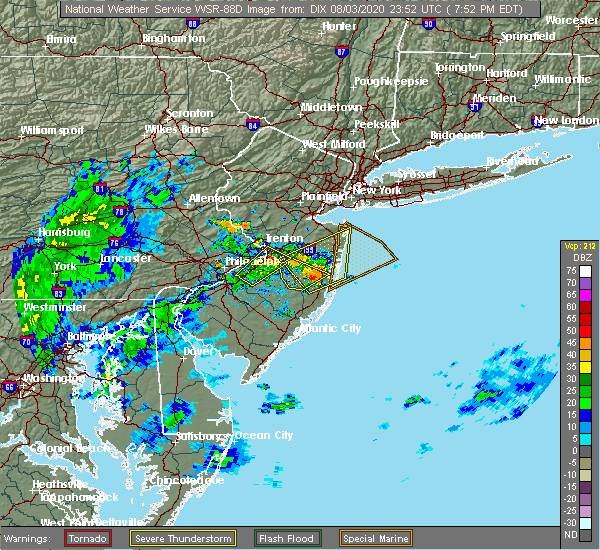 Radar Image for Severe Thunderstorms near Kendall Park, NJ at 8/3/2020 7:59 PM EDT