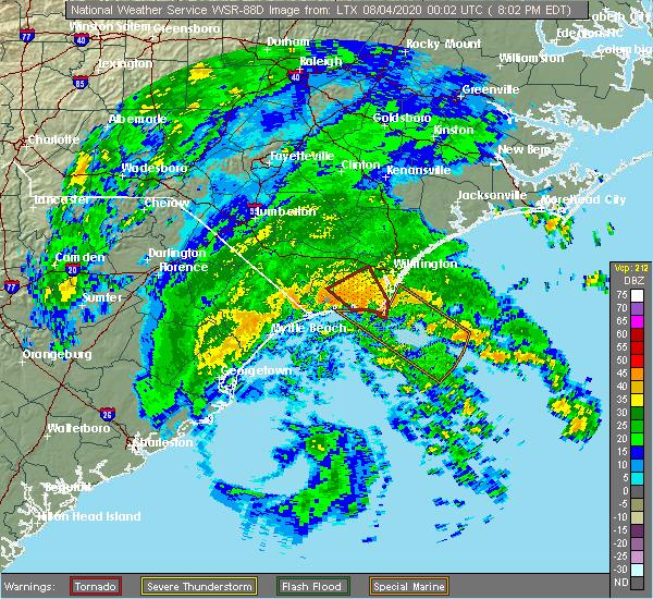 Radar Image for Severe Thunderstorms near Loris, SC at 8/3/2020 8:06 PM EDT