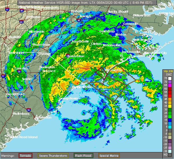 Radar Image for Severe Thunderstorms near Sandyfield, NC at 8/3/2020 8:53 PM EDT