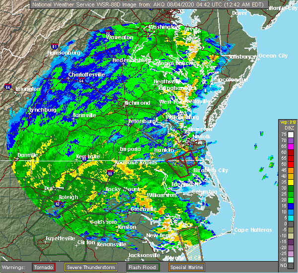Radar Image for Severe Thunderstorms near Suffolk, VA at 8/4/2020 12:52 AM EDT