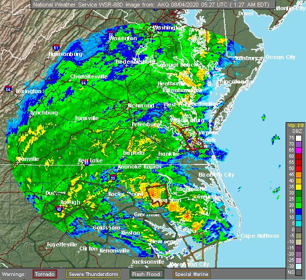 Radar Image for Severe Thunderstorms near Suffolk, VA at 8/4/2020 1:34 AM EDT