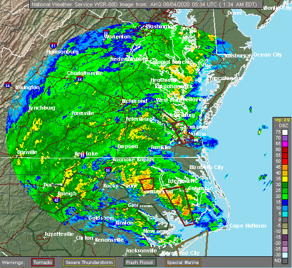 Radar Image for Severe Thunderstorms near Suffolk, VA at 8/4/2020 1:43 AM EDT
