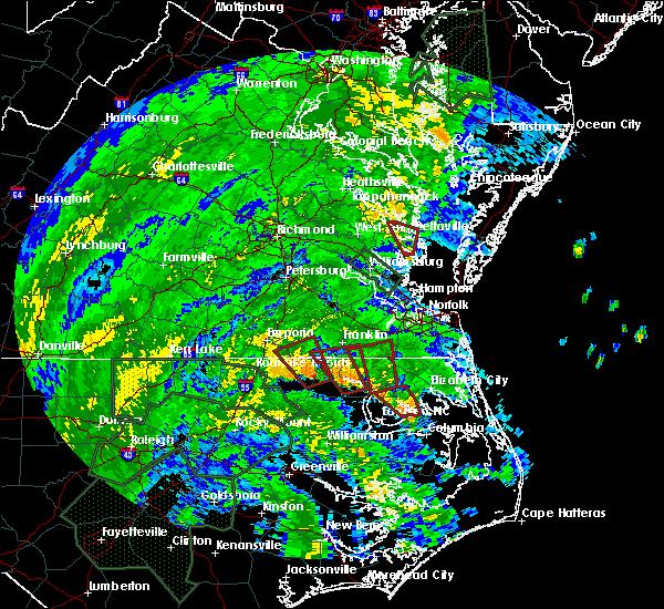 Radar Image for Severe Thunderstorms near Suffolk, VA at 8/4/2020 2:37 AM EDT