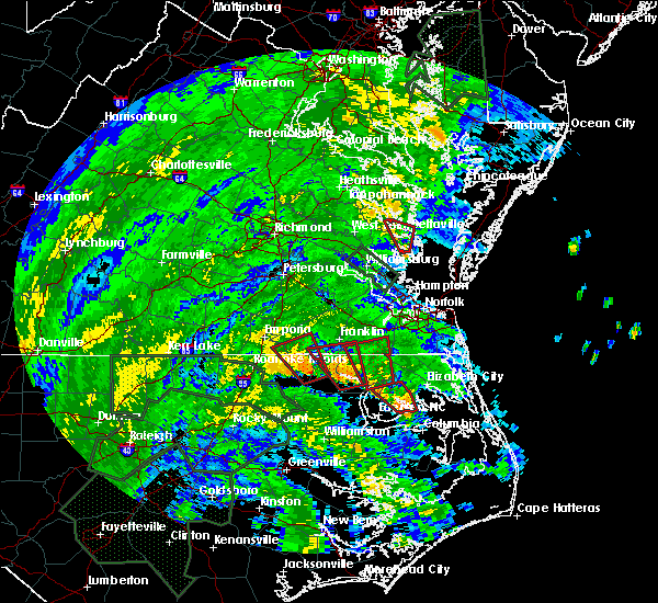 Radar Image for Severe Thunderstorms near Suffolk, VA at 8/4/2020 2:38 AM EDT