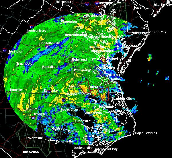 Radar Image for Severe Thunderstorms near Suffolk, VA at 8/4/2020 2:51 AM EDT