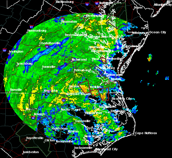 Radar Image for Severe Thunderstorms near Suffolk, VA at 8/4/2020 2:52 AM EDT