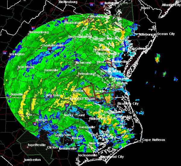 Radar Image for Severe Thunderstorms near Suffolk, VA at 8/4/2020 2:56 AM EDT