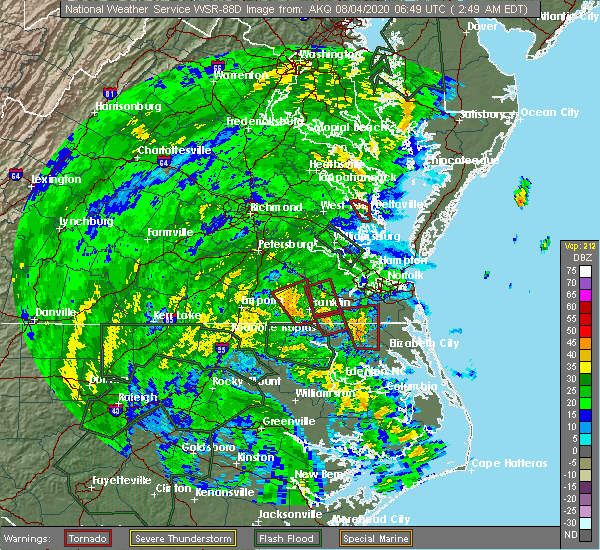 Radar Image for Severe Thunderstorms near Suffolk, VA at 8/4/2020 2:58 AM EDT