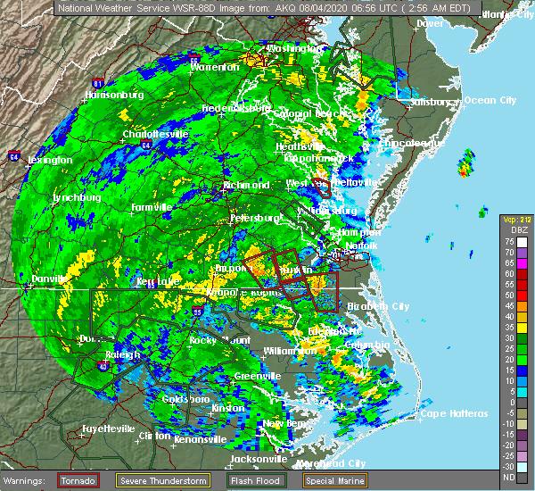 Radar Image for Severe Thunderstorms near Suffolk, VA at 8/4/2020 3:00 AM EDT