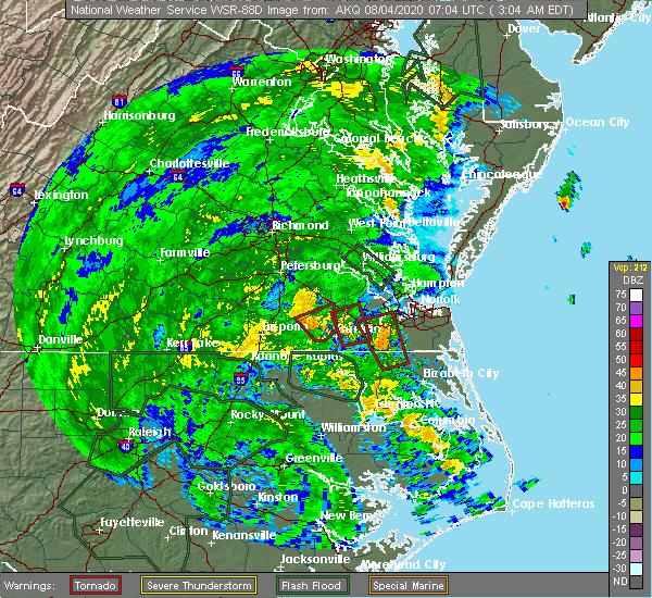 Radar Image for Severe Thunderstorms near Suffolk, VA at 8/4/2020 3:08 AM EDT