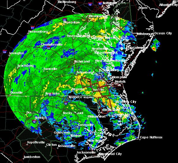 Radar Image for Severe Thunderstorms near Suffolk, VA at 8/4/2020 3:28 AM EDT