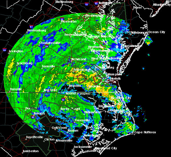 Radar Image for Severe Thunderstorms near Suffolk, VA at 8/4/2020 3:46 AM EDT