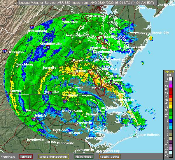 Radar Image for Severe Thunderstorms near Suffolk, VA at 8/4/2020 4:11 AM EDT