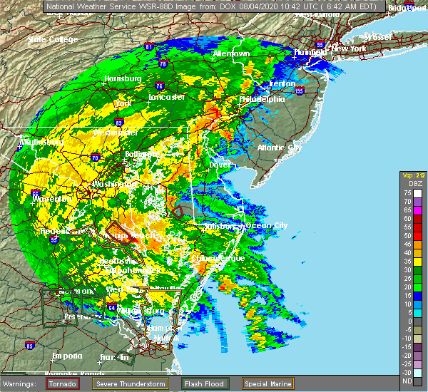 Radar Image for Severe Thunderstorms near Long Beach, MD at 8/4/2020 6:47 AM EDT