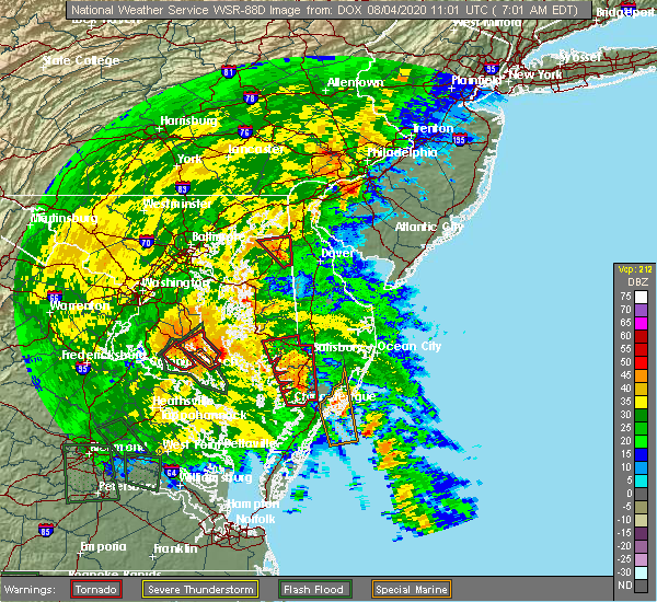 Radar Image for Severe Thunderstorms near Kennedyville, MD at 8/4/2020 7:07 AM EDT
