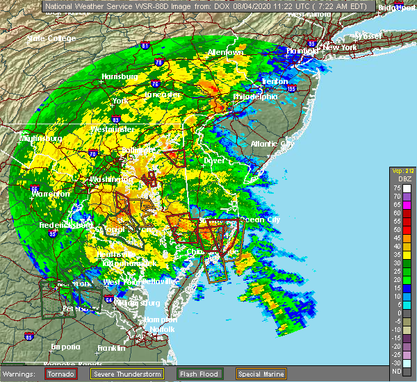 Radar Image for Severe Thunderstorms near Kennedyville, MD at 8/4/2020 7:29 AM EDT