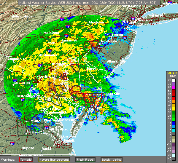 Radar Image for Severe Thunderstorms near Pittsville, MD at 8/4/2020 7:35 AM EDT