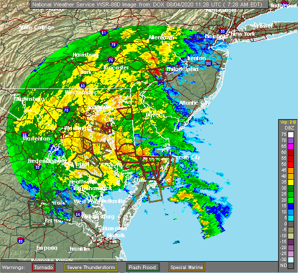 Radar Image for Severe Thunderstorms near Pittsville, MD at 8/4/2020 7:38 AM EDT