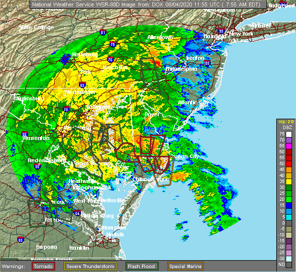 Radar Image for Severe Thunderstorms near Pittsville, MD at 8/4/2020 7:59 AM EDT