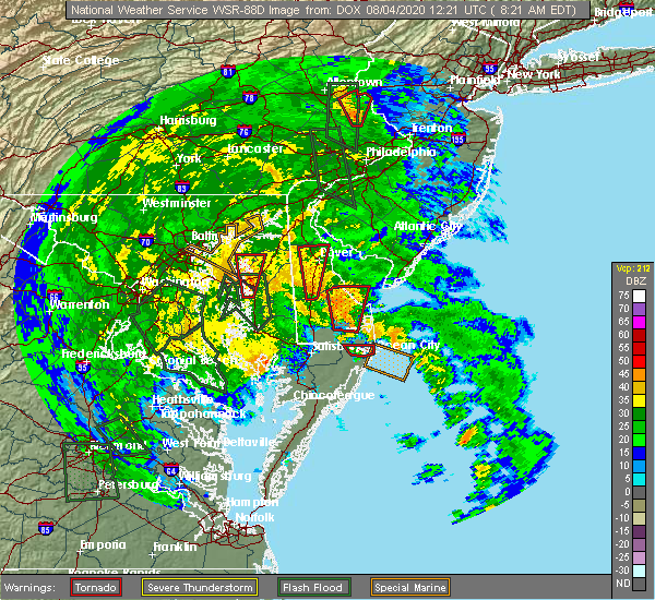 Radar Image for Severe Thunderstorms near Barclay, MD at 8/4/2020 8:30 AM EDT