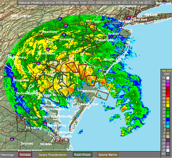 Radar Image for Severe Thunderstorms near Barclay, MD at 8/4/2020 8:44 AM EDT