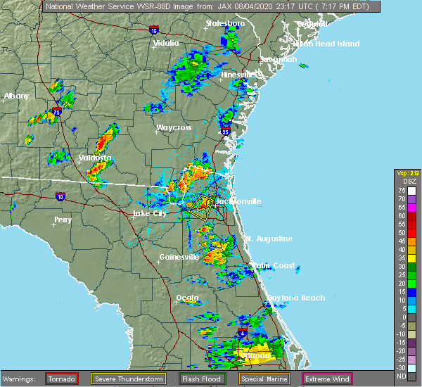 Radar Image for Severe Thunderstorms near Bellair-Meadowbrook Terrace, FL at 8/4/2020 7:23 PM EDT