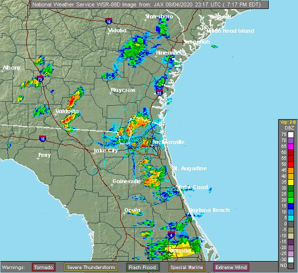 Radar Image for Severe Thunderstorms near Jacksonville, FL at 8/4/2020 7:23 PM EDT