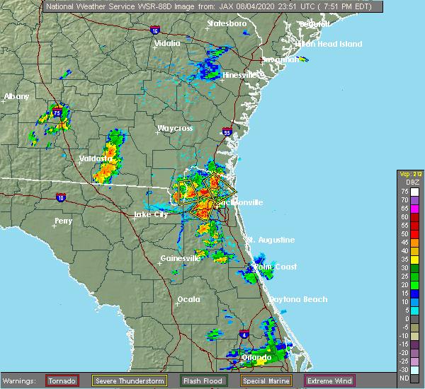 Radar Image for Severe Thunderstorms near Jacksonville, FL at 8/4/2020 7:55 PM EDT