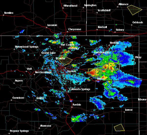 Radar Image for Severe Thunderstorms near Hugo, CO at 8/4/2020 6:01 PM MDT