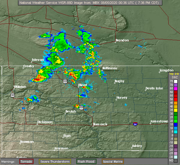 Radar Image for Severe Thunderstorms near Tioga, ND at 8/4/2020 7:42 PM CDT