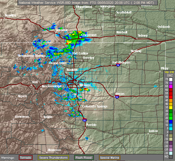 Radar Image for Severe Thunderstorms near Aurora, CO at 8/5/2020 2:13 PM MDT