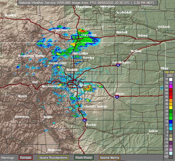 Radar Image for Severe Thunderstorms near Aurora, CO at 8/5/2020 2:36 PM MDT