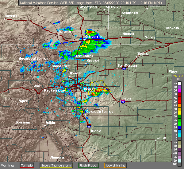 Radar Image for Severe Thunderstorms near Colorado Springs, CO at 8/5/2020 2:50 PM MDT