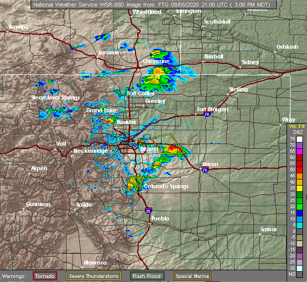 Radar Image for Severe Thunderstorms near Colorado Springs, CO at 8/5/2020 3:11 PM MDT