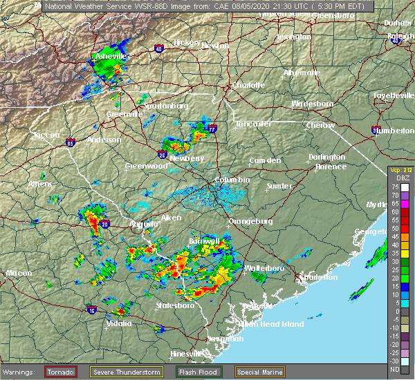 Radar Image for Severe Thunderstorms near Lincolnton, GA at 8/5/2020 5:35 PM EDT