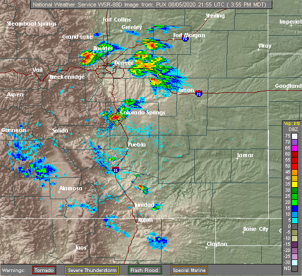 Radar Image for Severe Thunderstorms near Colorado Springs, CO at 8/5/2020 3:59 PM MDT