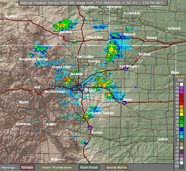 Radar Image for Severe Thunderstorms near Broomfield, CO at 8/5/2020 4:06 PM MDT
