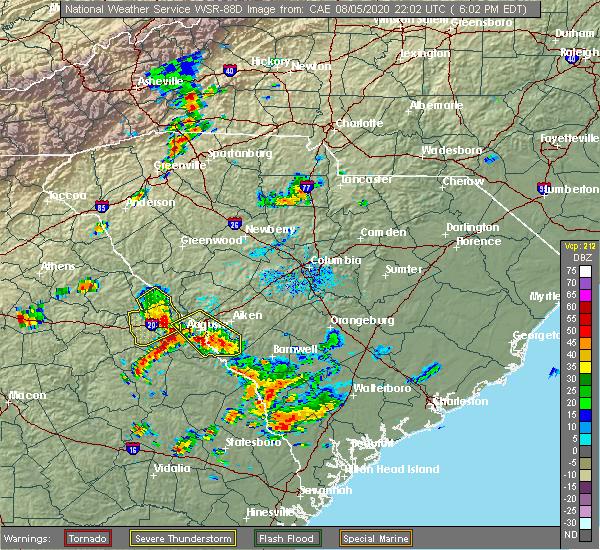 Radar Image for Severe Thunderstorms near Lincolnton, GA at 8/5/2020 6:07 PM EDT