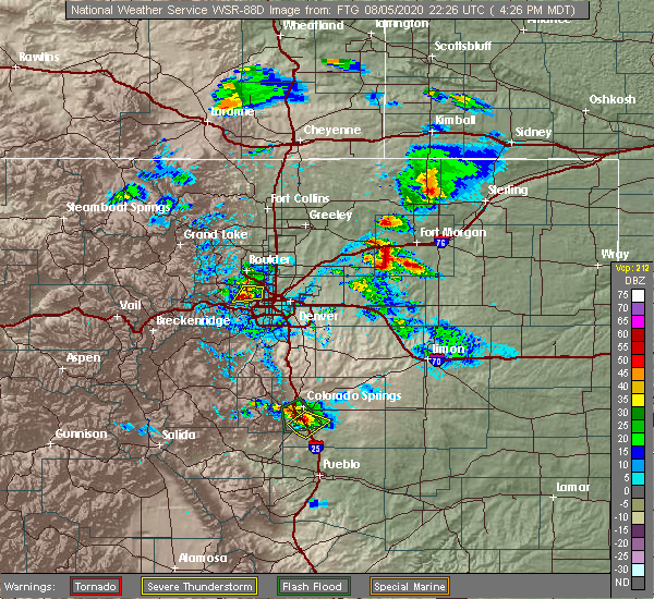 Radar Image for Severe Thunderstorms near Broomfield, CO at 8/5/2020 4:28 PM MDT