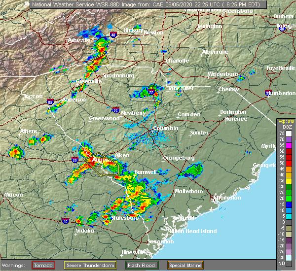 Radar Image for Severe Thunderstorms near Martinez, GA at 8/5/2020 6:30 PM EDT