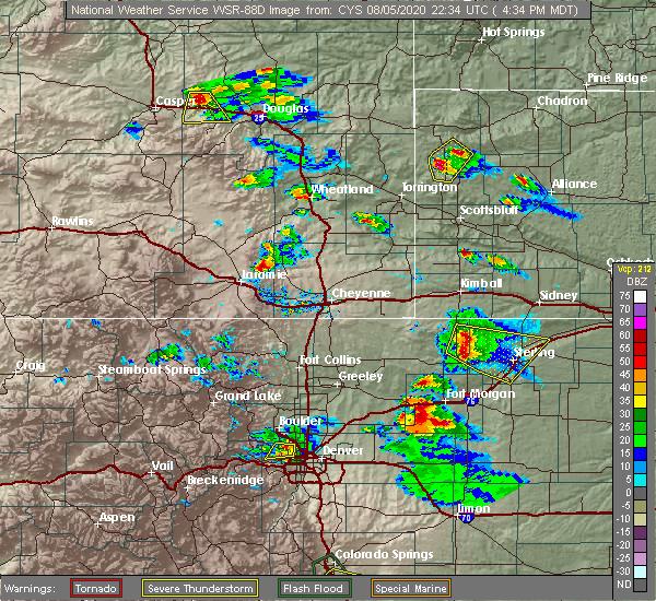Radar Image for Severe Thunderstorms near Glenrock, WY at 8/5/2020 4:37 PM MDT