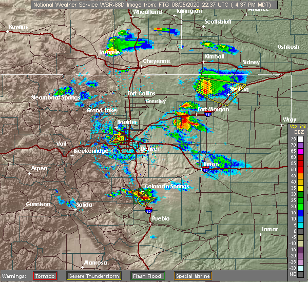 Radar Image for Severe Thunderstorms near Broomfield, CO at 8/5/2020 4:41 PM MDT