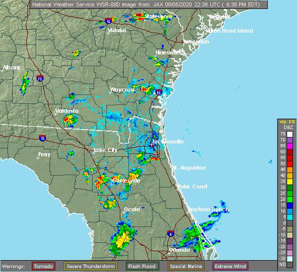 Radar Image for Severe Thunderstorms near Fruit Cove, FL at 8/5/2020 6:44 PM EDT