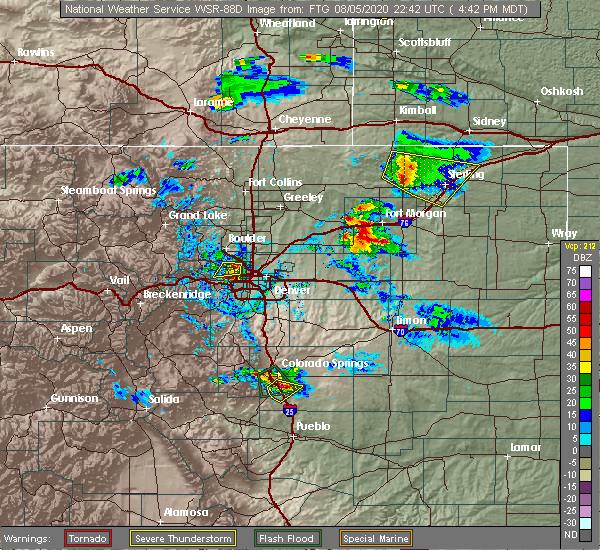 Radar Image for Severe Thunderstorms near Snyder, CO at 8/5/2020 4:48 PM MDT