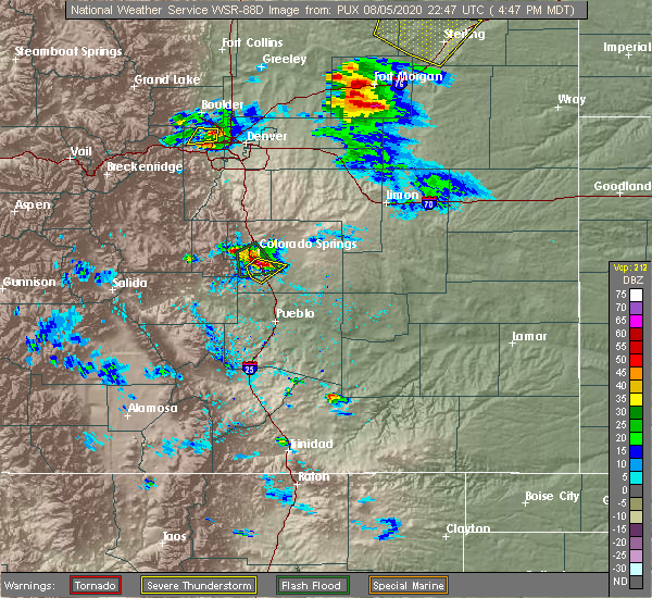 Radar Image for Severe Thunderstorms near Colorado Springs, CO at 8/5/2020 4:49 PM MDT